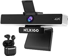 4K Zoomable Webcam with Wireless Earbuds, 5X Digital Zoom, NexiGo UHD 2160P Webcam with 8.5MP Sony Senor and Dual Stereo M...
