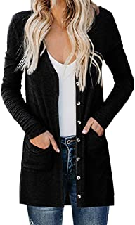 HAPPIShare Women's Long Sleeve Snap Button Down Solid Color Knit Ribbed Neckline Cardigans
