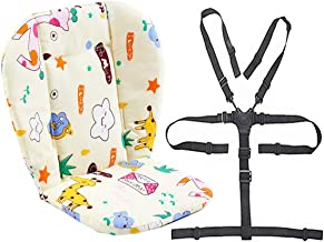 Twoworld Baby Stroller/High Chair Seat Cushion Liner Mat Pad Cover Resistant and High Chair Straps (5 Point Harness) 1 Suit (Giraffe)