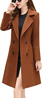 chouyatou Women Elegant Notched Collar Double Breasted Wool Blend Over Coat