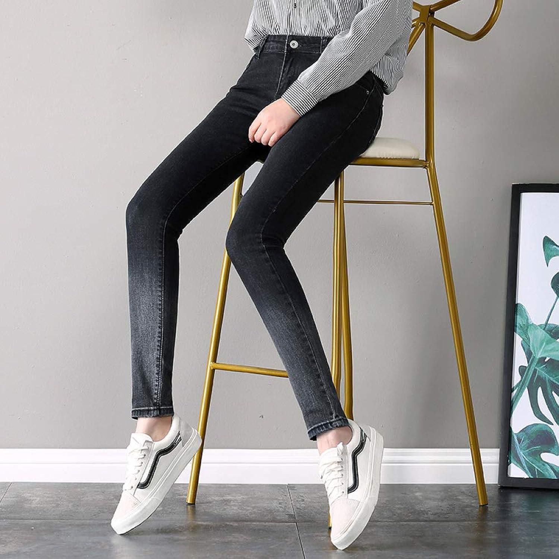 Jeans Women's Slim Plus Velvet Gradient color Trousers Tight Feet Pencil Pants CTO