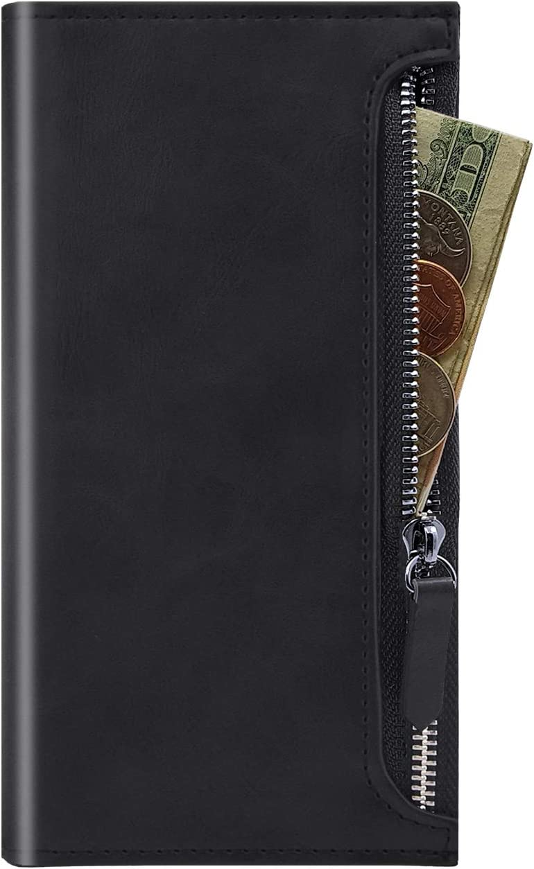 Qoosan Zipper Wallet Case for Samsung Galaxy Z Fold 2 Case, Premium PU Leather Folio Flip Phone Cover with Card Holder Magnetic Closure, Black