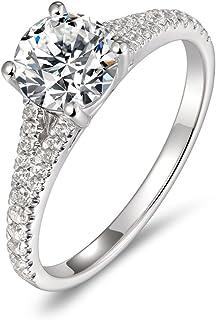 Lamrowfay 14K Gold 1ct 6.5mm Round Brilliant Cut Simulated Diamond Cubic Zirconia CZ Solitaire Engagement Ring Wedding Ring Set Women Girls