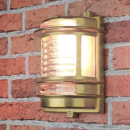 *Wandleuchte Außen Antik Riffelglas Echt-Messing rostfrei H:22cm maritimer Stil langlebig Außenlampe Terrasse Balkon*