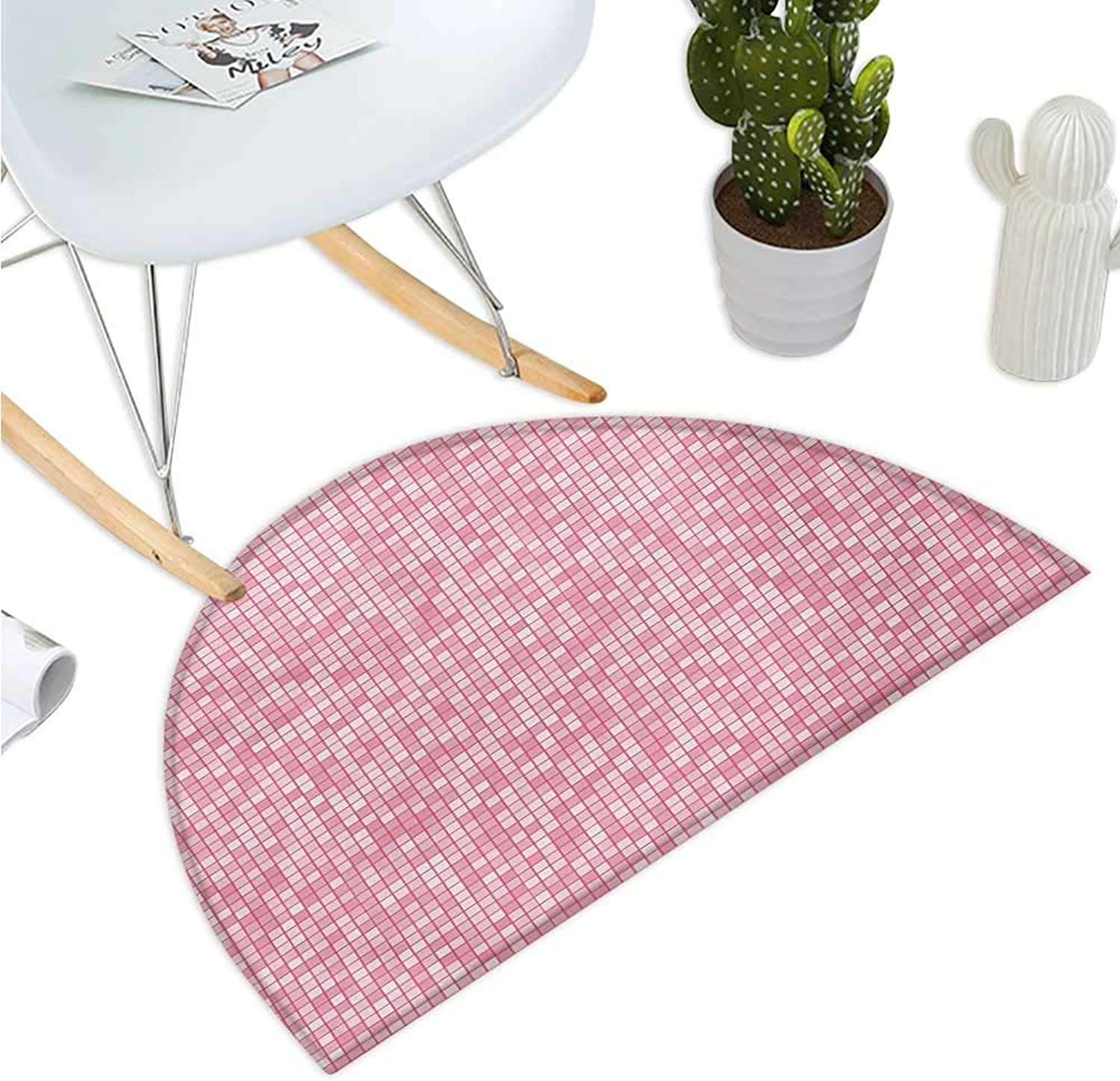 Pink and White Semicircular Cushion Gingham Style Mosaic Tile in Pink color Shades Modern Grid with Small Squares Entry Door Mat H 35.4  xD 53.1  Pale Pink