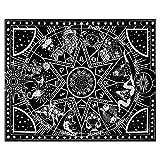 odosac Tapiz para colgar en la pared 3D Tarot mágico medieval de adivinación tocadisco, tapiz del zodiaco, decoración del hogar para dormitorio, mesa giratoria de estrella negra (127 x 152 cm)