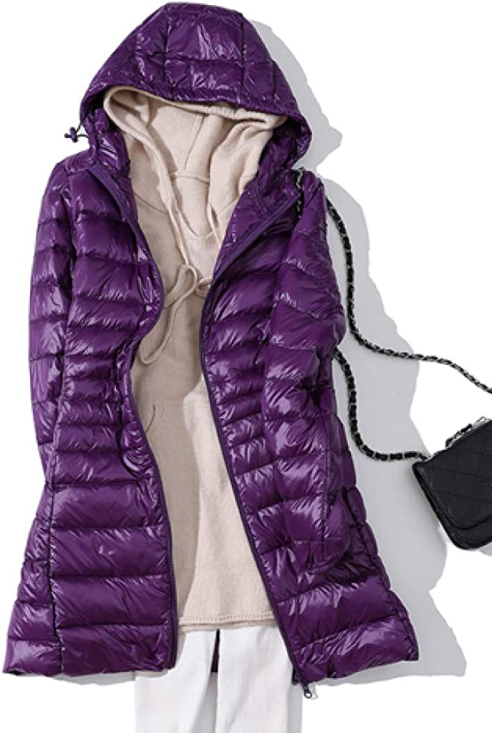 Winter Woman Down Coat Hooded Long Jacket White Duck Down Overcoat Ultra Light Slim Overcoat Portable Outerwear