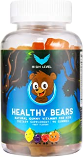 High Level Healthy Bears | Natural Gummy Multivitamins for Kids | 90 Fruit Flavored Gummies with Vitamin A, C, D, E, B-6, ...