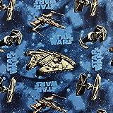 FS598_3 Star Wars Rebellenschiffe blau Baumwollstoff Design