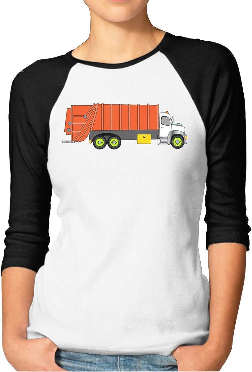 Womens Orange Garbage Truck 3//4 Sleeve Raglan Baseball Tshirt Cute Tops