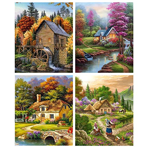 4 Pack 5D Full Drill Diamond Painting Kit,Rhinestone Embroidery Paintings Pictures Arts Craft for Home Wall Decor, 30x40cm/12×16 Inches (Country Landscape)