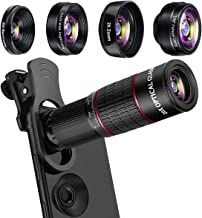 Phone Camera Lens Kit, Mikikin 5 in 1 Cell Phone Lens - 20X Telephoto Zoom Lens, 20X Macro Lens, 198° Fisheye Lens, 0.62X Wide Angle Lens & 2X Zoom Lens for iPhone XS Max/XS/XR/X/8/7/6/5S Plus Samsung