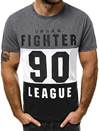 1d5e8d1962bb9 YKARITIANNA Fashion Men s Casual Slim Letter Printed Short Sleeve T Shirt  Top Blouse