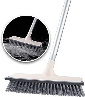 デッキブラシ ランダ掃除用ブラシ ウォータースクレーパー 浴室掃除用ブラシ 掃除用品 清掃用品 2021最新型 2 in 1 水切りワイパー 3段長さ調節可能 掃除用ブラシ タイルブラシ 屋外 プールといっ掃除用品