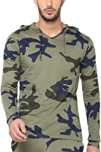 Urbano Fashion Men's Green Military Camouflage Printed Hooded Full Sleeve Cotton T-Shirt