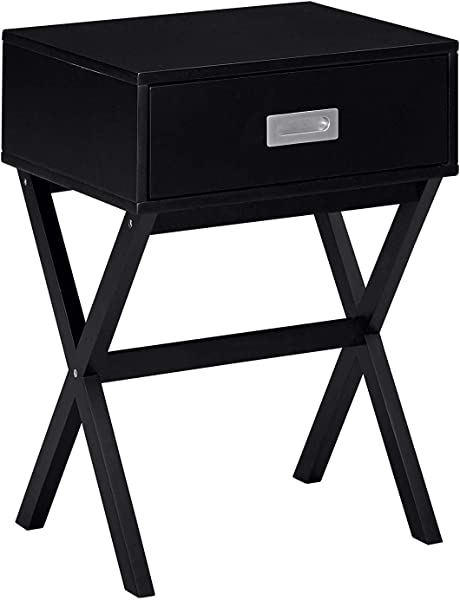 MUSEHOMEINC Nevada Wood End Table With Drawer For Living Room Or Bedroom Modern X Frame Style Night Stand Side Table Black Finish