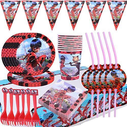 WENTS Vajilla Diseño de Ladybug Desechable Accesorio de Decoración de Fiesta de Cumpleaños Apoyo para Celebración Pancarta Platos Vasos Servilletas y Mantel Resistente, 62pcs