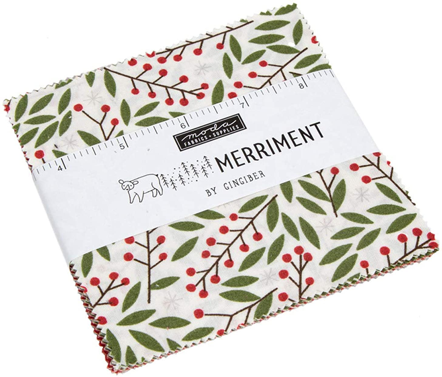 Merriment Charm Pack by Gingiber; 42-5 Inch Precut Fabric Quilt Squares