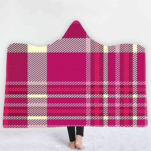 ACC Mit Kapuze Decke, Erwachsene Kinder können warme und Bequeme tragbare Plüsch Karierte Wolldecke Decke, Unisex tragen,1,130x150cm