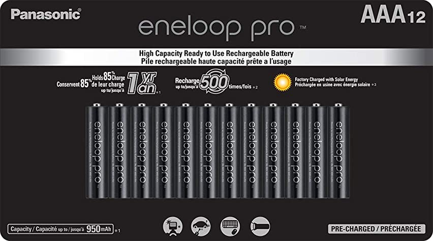 Panasonic BK-4HCCA12FA eneloop Pro AAA High Capacity Ni-MH Pre-Charged Rechargeable Batteries, 12 Pack
