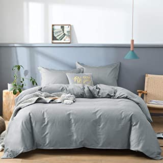 JSD 100% Cotton Duvet Cover Set King Silver Grey 3 Piece Comforter Cover with Corner Ties Ultra Soft 300 TC Thread Count Cotton Hotel Luxury Bedding Set