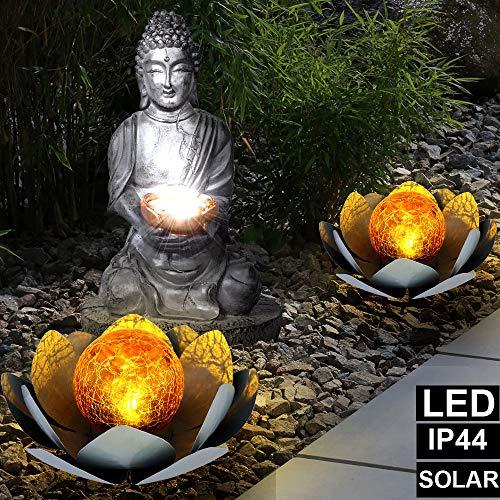3er Set LED Solar Steh Leuchten Feng Shui Buddha Garten Deko Lampen Lotosblumen Crackle Glas