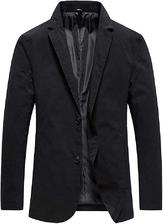 Mens Two Button Slim Fit Solid Color Notch Lapel Work Sport Coat Blazer Jacket