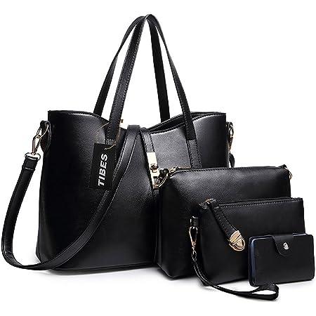 TIBES Handtaschen damen Handtasche mädchen Weiche handtasche Taschen damen set Beutel Top handle bags Tragetaschen Messenger bag damen Geldbörsen Handtaschen für mädchen 4 Stück Set Schwarz 1