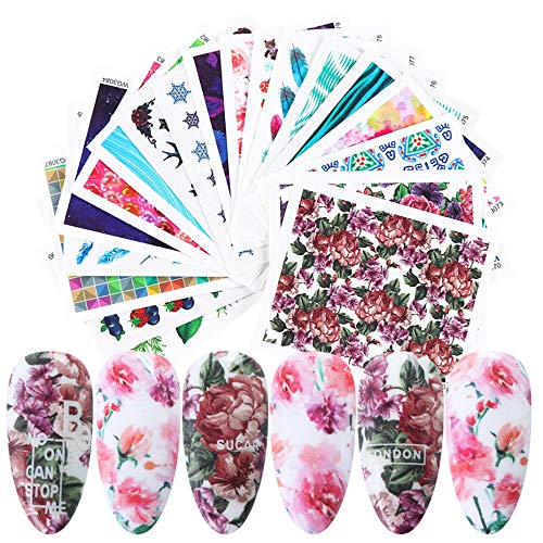 Flower Nail Art Stickers 21 Sheets Water Slide Nail Decoration Decals Watercolor Rose Blossom Leaf Fruit Designs for Women Girls DIY Fingernails and Toenails Decor Manicure Tips Wraps Accessories