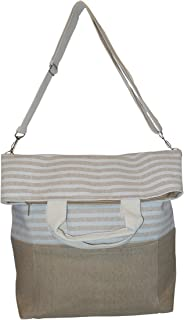 Striped 2 Way Carry Fashion Beach Tote Bag