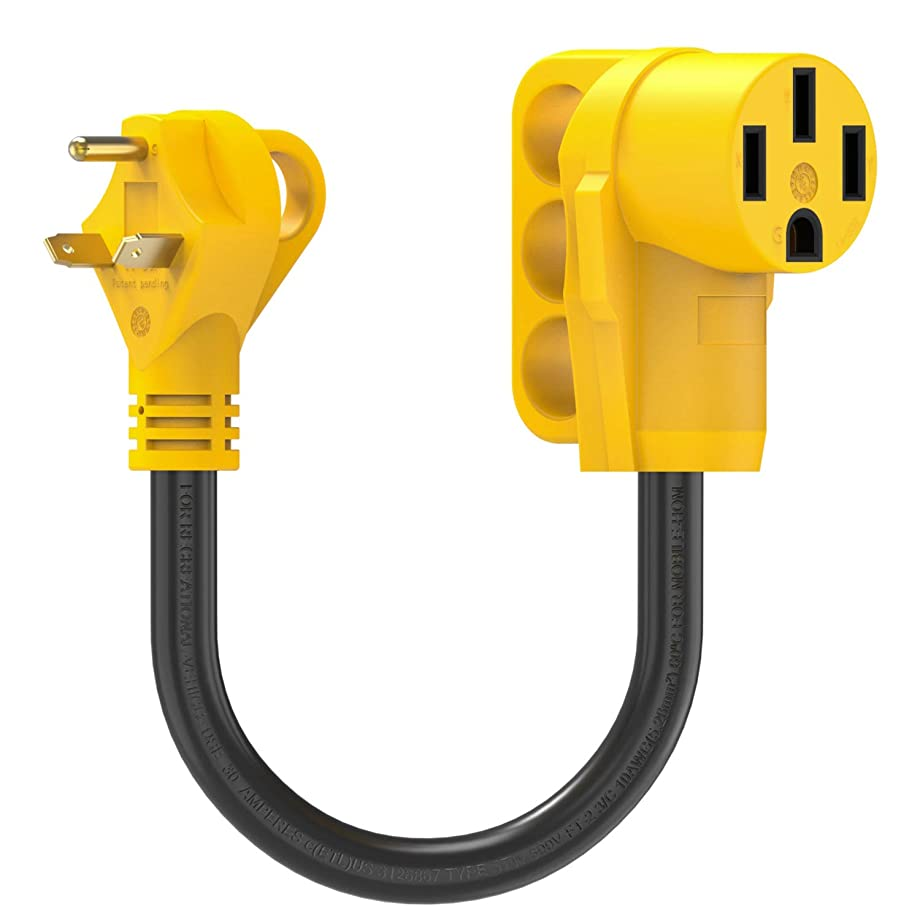 """Kohree 30 Amp to 50 Amp RV Plug Adapter Heavy Duty Dogbone Electrical Power Adapter with Grip Handle, 18"""" 30M/50F 125V/3750W, 18 Inch"""