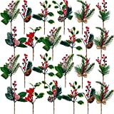 24 Selecciones de Bayas Rojas Artificiales de Navidad Ramas de Baya de Pino Palillos de Flor Nevada de Pino de Acebo Bayas Falsas Piñas para Manualidades Navideñas Tallos Flexibles de 8 Pulgadas