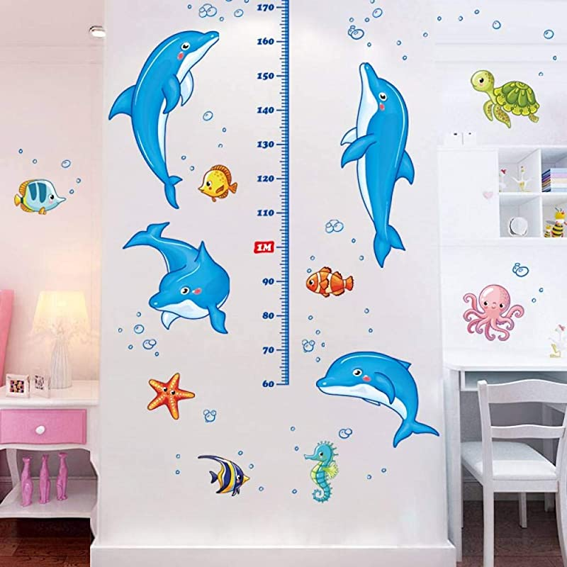 TIVOPA Cartoon Blue Dolphin Child Height Measure Wall Stickers For Kids Rooms Nursery Height Growth Chart Sticker Underwater Fish Decor
