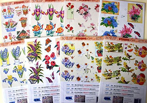 Value Pack - Janneke Brinkman with Basic Paper and 3D Decoupage Sheets - For Card Making and Scrapbooking - 30 Assorted A4 Sheets in Total