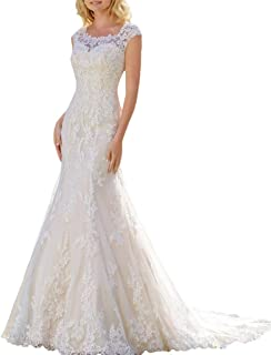 Women Mermaid Bridal Gowns O Neck Illusion Lace Wedding Dresses