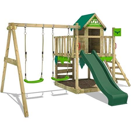 FATMOOSE Parque infantil de madera JazzyJungle con columpio y tobogán verde, Casa de juegos de jardín con arenero y escalera para niños