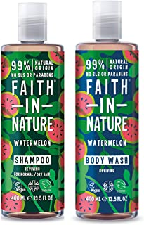 Faith In Nature Watermelon Shampoo and Body Wash 400ml Duo Pack | Vegan | No Cruelty | 99% Natural Fragrance | No From SLS or Parabens