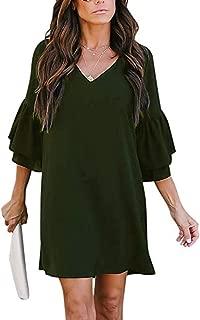 MISSLOOK Women's Dress V-Neck Cute Bell Sleeve Loose Shift Dress Swing Mini Dress
