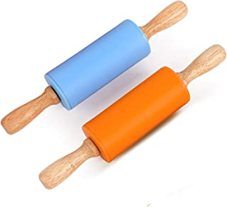 Honglida 9 Inch Silicone Rolling Pin for Kids, Non-stick Surface and Comfortable Wood Handles(Pack of 2) (Blue + Orange)