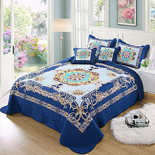 LGYKUMEG Juego de Acolchado de Lujo de Ropa de Cama 3 Piezas, algodón Puro Azul Floral mechas de mechas, 1 edredón + 2 Almohada CAS 4kg,90×98'