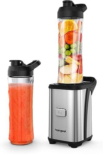 Homgeek Mini Blender 350W, Blender smoothie et Milk-shake avec 2 Bouteilles Portables de 600ml, 2 Couvercles sans BPA...