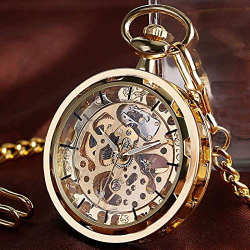 SHKUU Klassische Taschenuhr Vintage Watch Halskette Steampunk Skeleton mechanische Taschenuhr Uhr Anhänger Handaufzug Männer Frauen Kette Geschenk