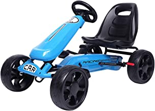 VALUE BOX Go-Kart, 4 Wheels Pedal Powered Ride On Toys, Outdoor Racer with Ergonomic Adjustable Seat, Handbrake, EVA Rubber Wheels, Pedal Cart for Kids Boys and Girls (Blue)