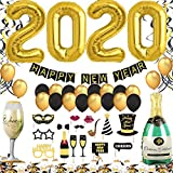 Jonami Decoration Nouvel an 2020, Deco Fete Nouvelle Année, Bonne Année Bannière, 2020 Ballons Géants, Ballons Or et Noir,...