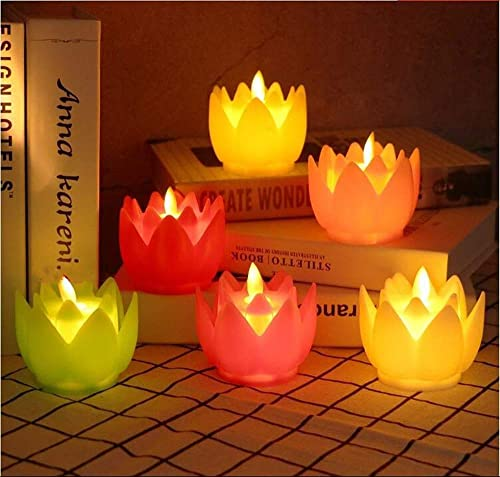 A2Z 1PC Most Realistic Swing Wave Flameless Flickering Lotus LED Electronic Candle Light for Home Decoration and Diwali Size 8x8x6 cm