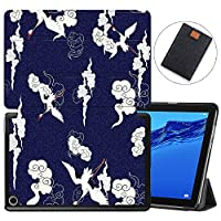 MAITTAO Slim Folio Case For Huawei MediaPad M5 Lite 10 2018 Release, Magentic Smart-Shell Stand Cover with Wake/Sleep for Mediapad M5 lite 10.1 Inch Tablet Sleeve Bag 2 in 1, Totem Crane 14