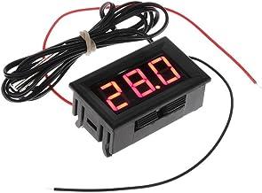 ACAMPTAR DC 5-12V -50-110 Celsius Indicador de temperatura digital Termometro Detector de temperatura del refrigerador con la sonda, Rojo