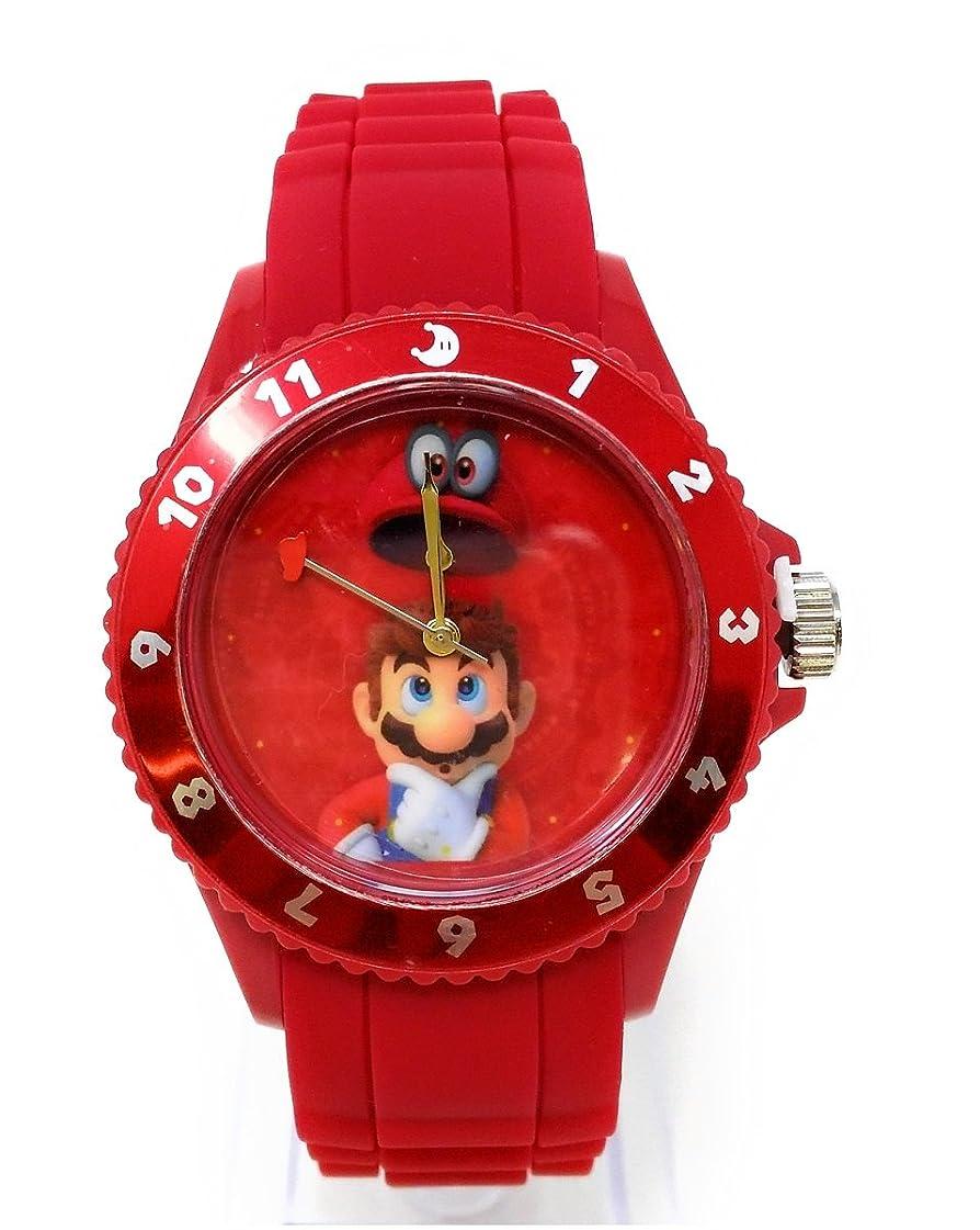 チーム請う愛国的なスーパーマリオオデッセイ シリコンウォッチ スーパーマリオ マリオ ゲーム 腕時計 時計 シリコン (レッド)