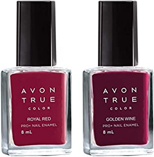 Avon True Color Nail Polish - Royal Red + Golden Wine colors 8ml each Combo