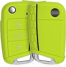 kwmobile Funda de Silicona para Llave de 3 Botones para Coche VW Golf 7 MK7 - Carcasa Protectora Suave de Silicona - Case Mando de Auto Verde/Negro